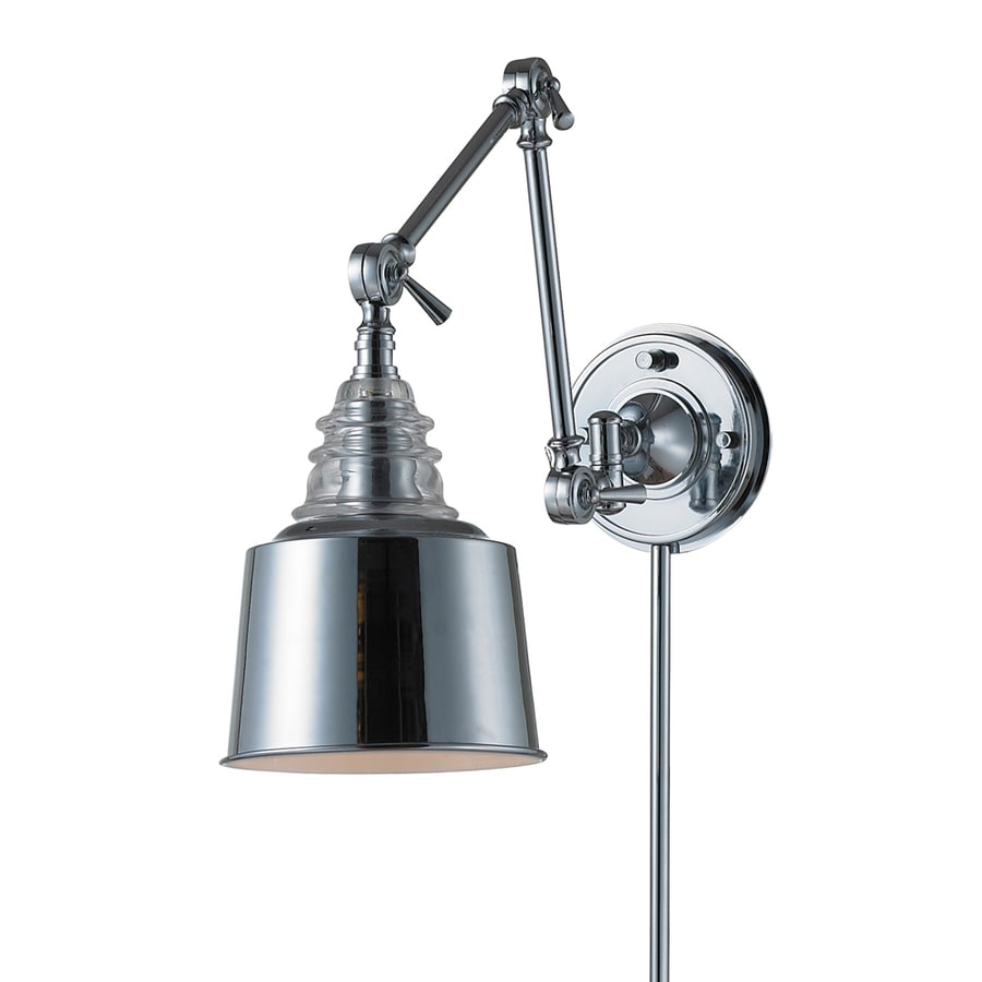 Wall Mount Lamp With Shade : Shop Westmore Lighting 18-in H Polished Chrome Swing-Arm LED Wall-Mounted Lamp with Metal Shade ...