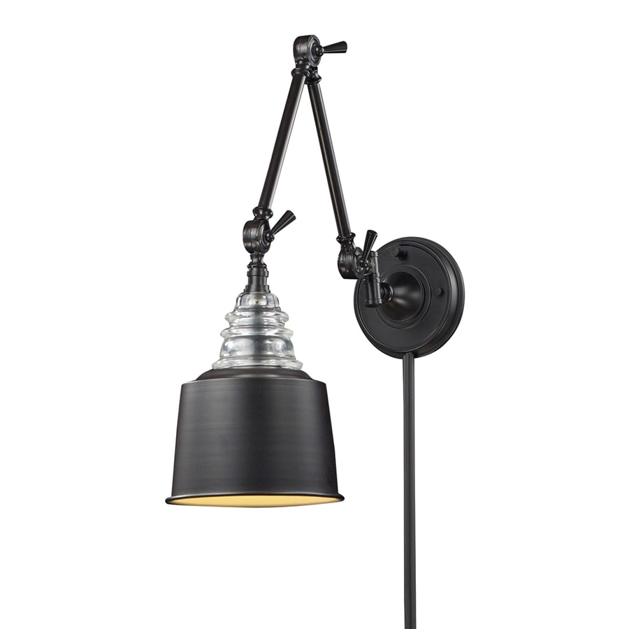 Wall Mount Lamp With Shade : Shop Westmore Lighting 18-in H Oiled Bronze Swing-Arm LED Wall-Mounted Lamp with Metal Shade at ...