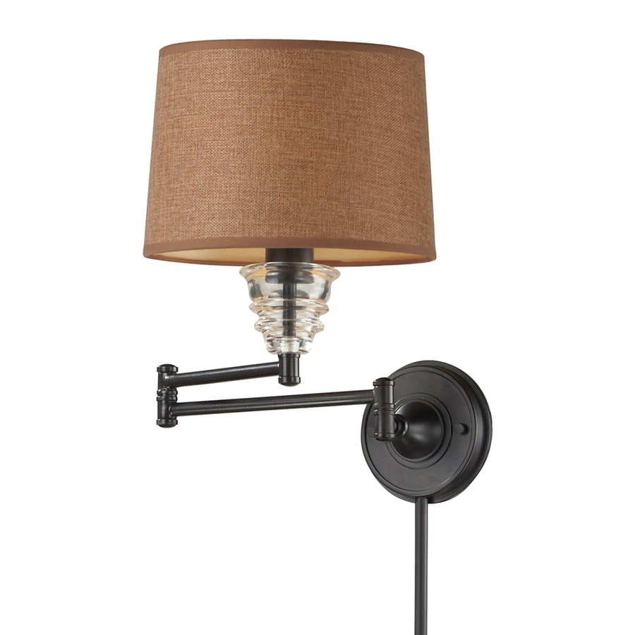 Westmore Lighting 15-in H Oiled Bronze Swing-Arm LED Wall-Mounted Lamp with Fabric Shade