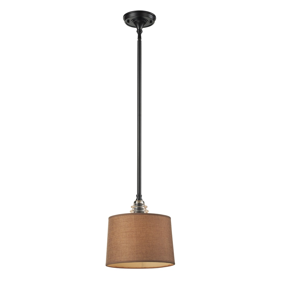 Westmore Lighting Notley 10-in Oiled Bronze and Raw Umber Fabric Mini Pendant
