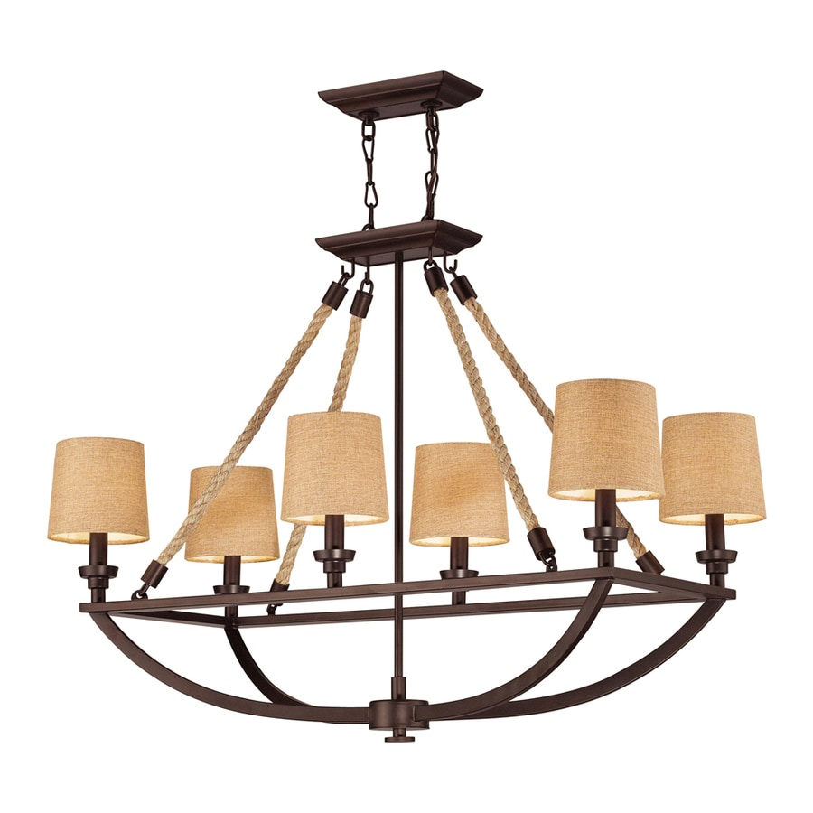 Westmore Lighting Litherland 36-in 6-Light Aged Bronze and Tan Linen Rustic Linear Chandelier