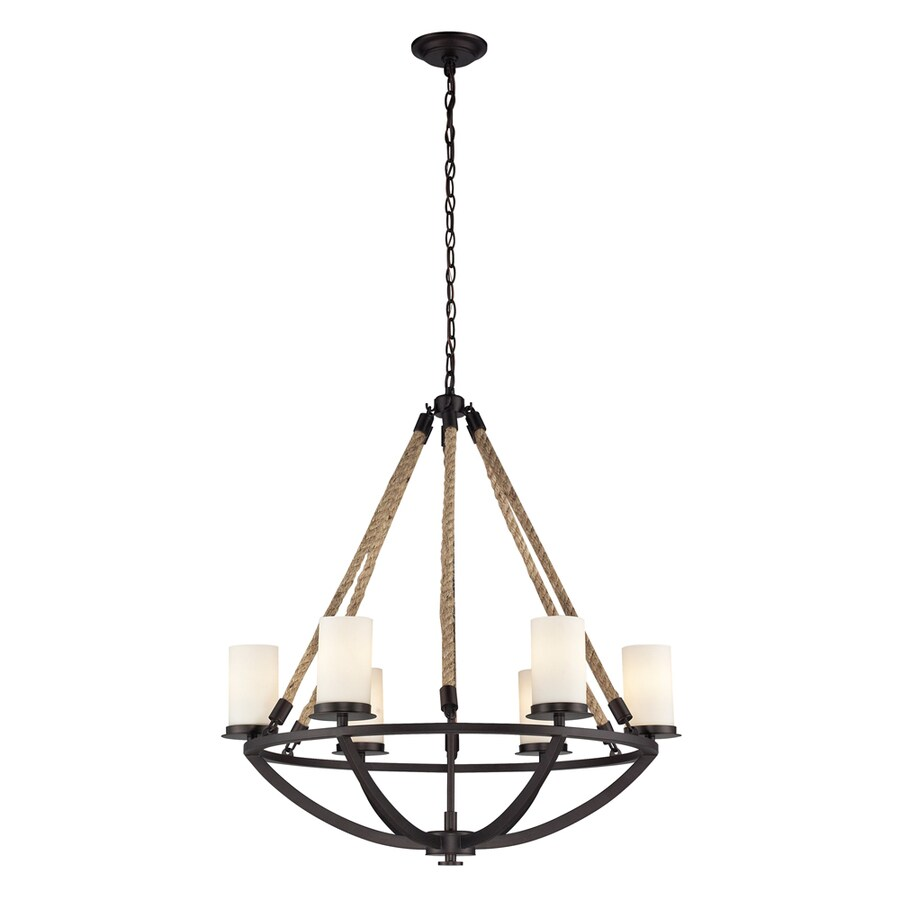 Westmore Lighting Litherland 29-in 6-Light Aged Bronze and Opal White Glass Rustic Tinted Glass Candle Chandelier