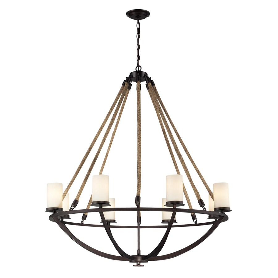 Westmore Lighting Litherland 41-in 8-Light Aged Bronze and Opal White Glass Rustic Candle Chandelier
