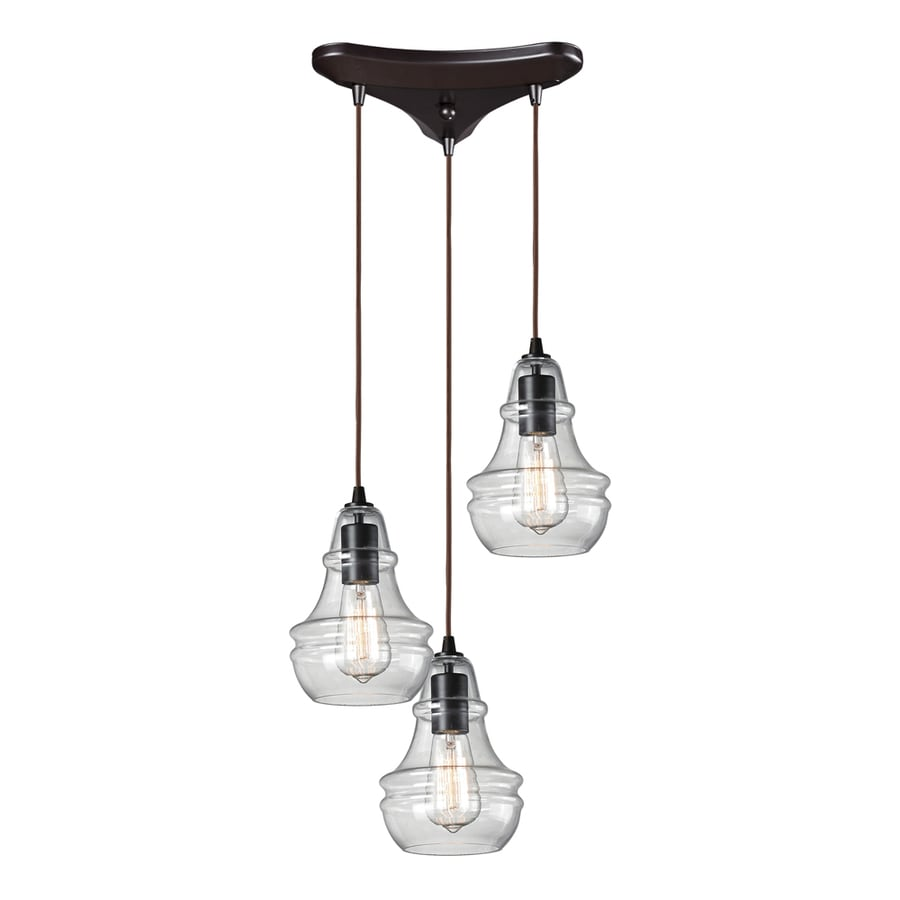 Westmore Lighting Alvingham 10-in Oiled Bronze and Clear Glass Mini Clear Glass Pendant
