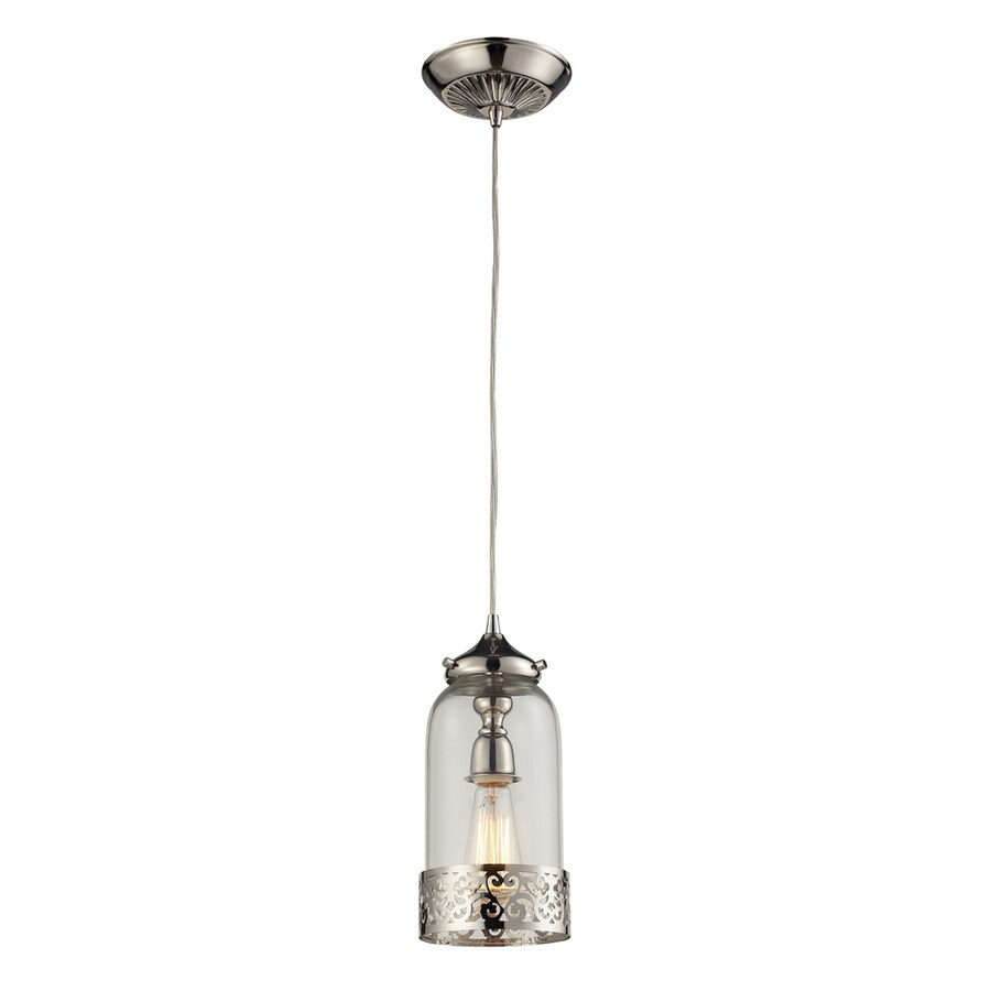 Westmore Lighting Staughton 6-in Polished Nickel and Clear Glass Mini Clear Glass Pendant