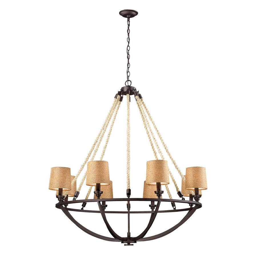 Westmore Lighting Litherland 35-in 8-Light Aged Bronze Rustic Shaded Chandelier