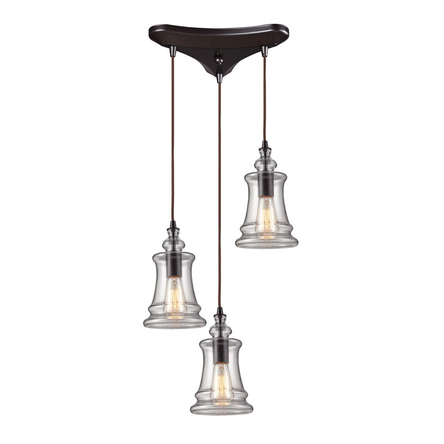 Westmore Lighting Alvingham 10-in Oiled Bronze Mini Clear Glass Pendant
