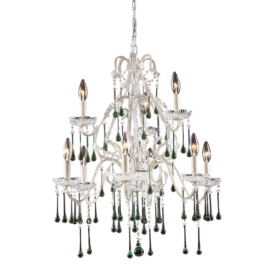 Westmore Lighting Whitehall 25-in 9-Light Antique White Crystal Candle Chandelier