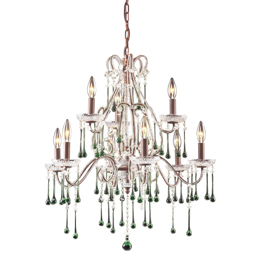 Westmore Lighting Whitehall 25-in 11-Light Rust Crystal Candle Chandelier