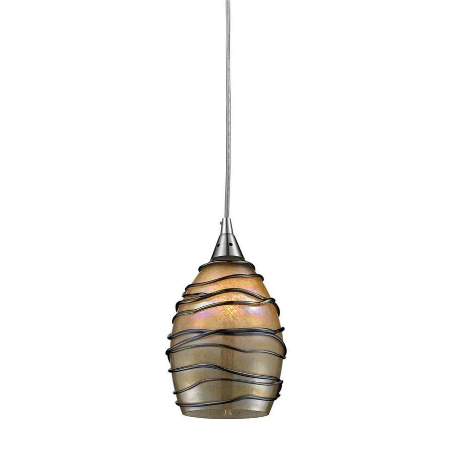 Westmore Lighting Keswick 5-in Satin Nickel Mini Tinted Glass Pendant