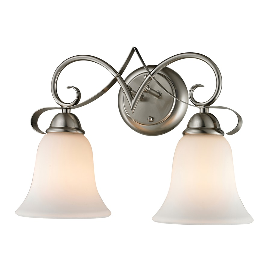 2 Light Vanity Light Brushed Nickel : Shop Westmore Lighting Colchester 2-Light Brushed Nickel Bell Vanity Light at Lowes.com