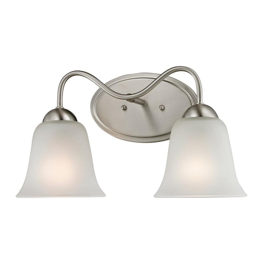 lighting 2 light ashland brushed nickel bathroom vanity light at lowes. Black Bedroom Furniture Sets. Home Design Ideas