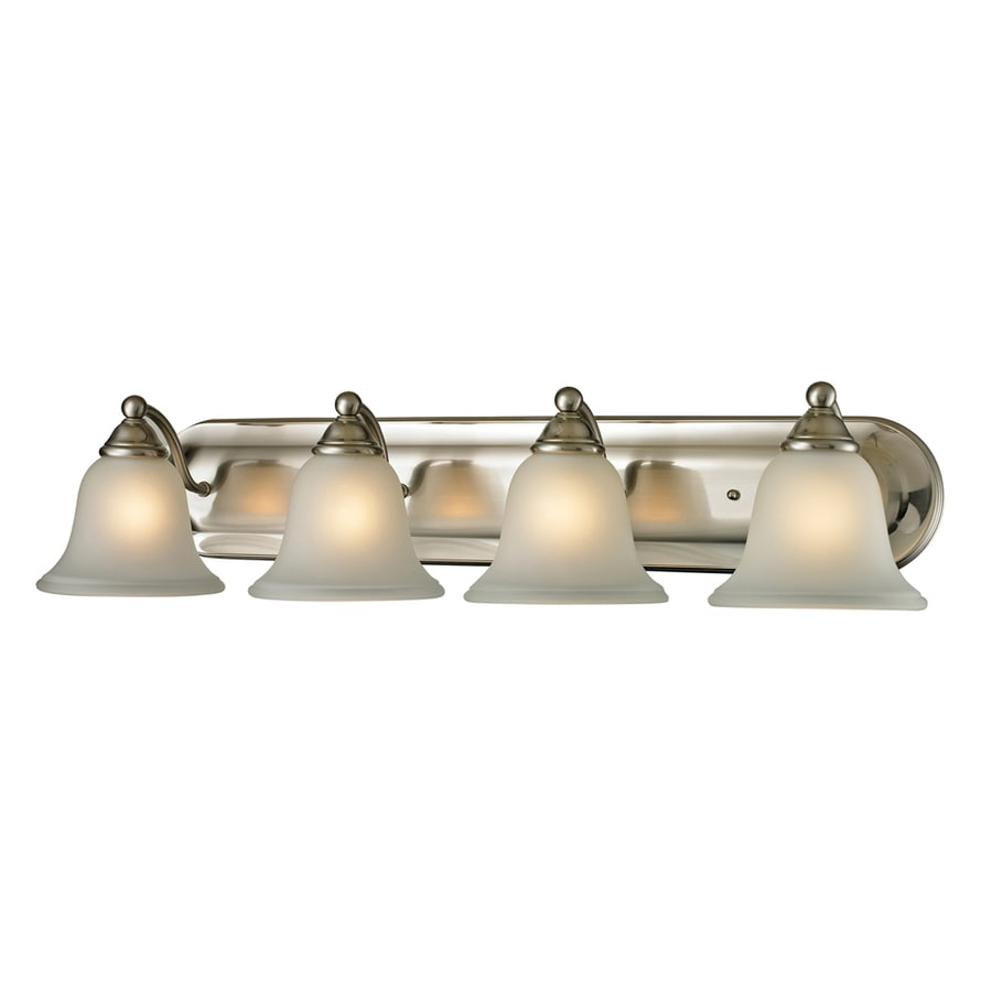 lighting wyndmoor 4 light brushed nickel bell vanity light at lowes. Black Bedroom Furniture Sets. Home Design Ideas