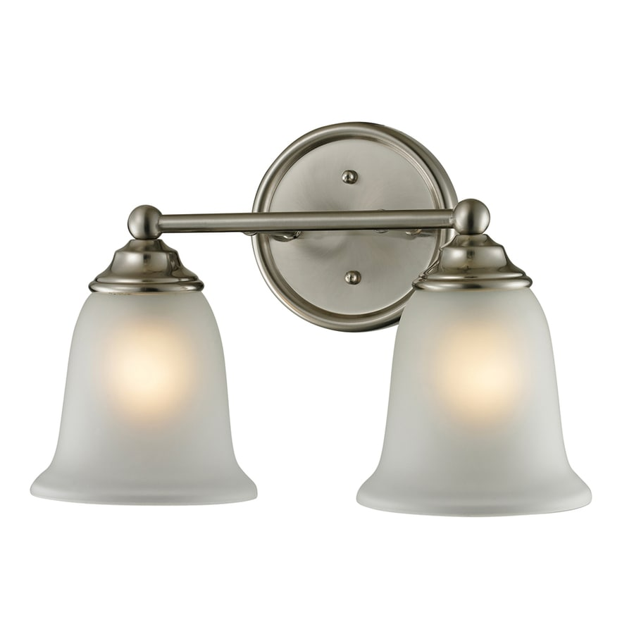 2 Light Vanity Light Brushed Nickel : Shop Westmore Lighting 2-Light Landisville Brushed Nickel Bathroom Vanity Light at Lowes.com