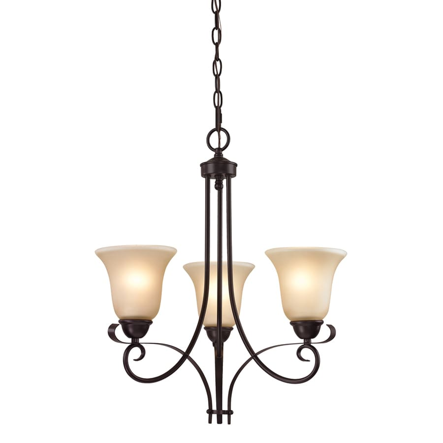 Westmore Lighting Colchester 20-in 4-Light Oil-Rubbed Bronze Tinted Glass Shaded Chandelier