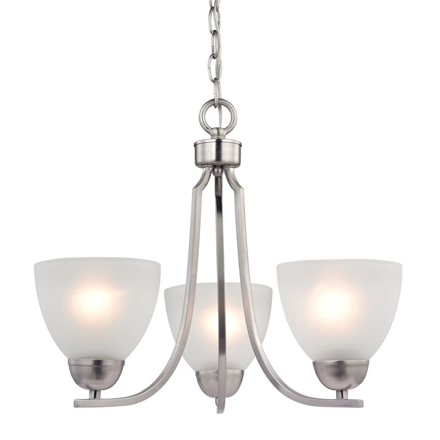 Westmore Lighting Rutherford 20-in 3-Light Brushed Nickel Tinted Glass Shaded Chandelier