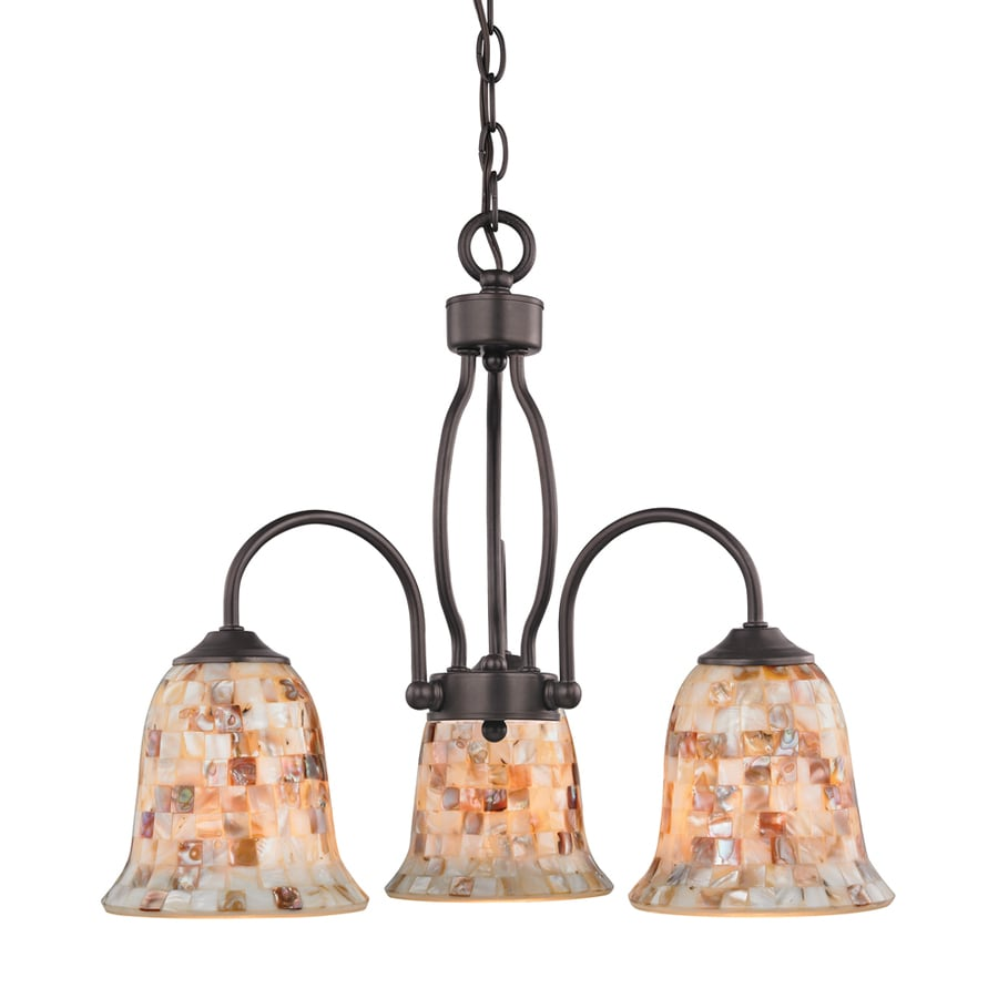 Westmore Lighting Delano 23-in 3-Light Oil-Rubbed Bronze Tinted Glass Shaded Chandelier