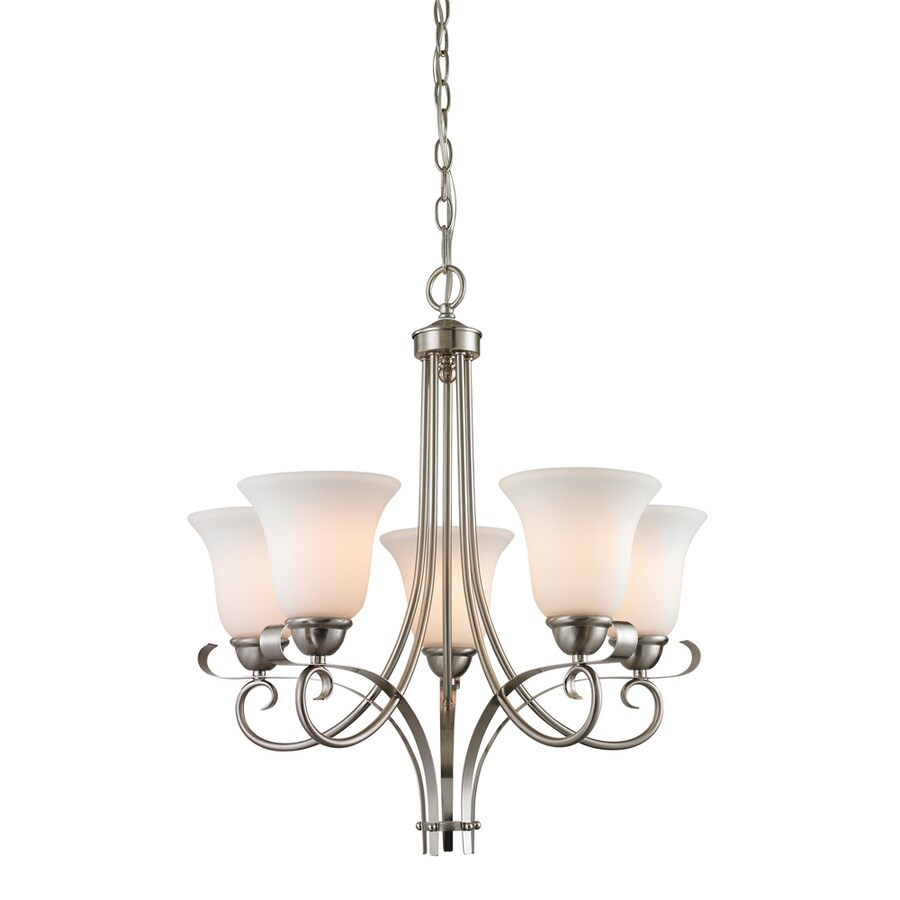 Westmore Lighting Colchester 22-in 5-Light Brushed Nickel Tinted Glass Shaded Chandelier