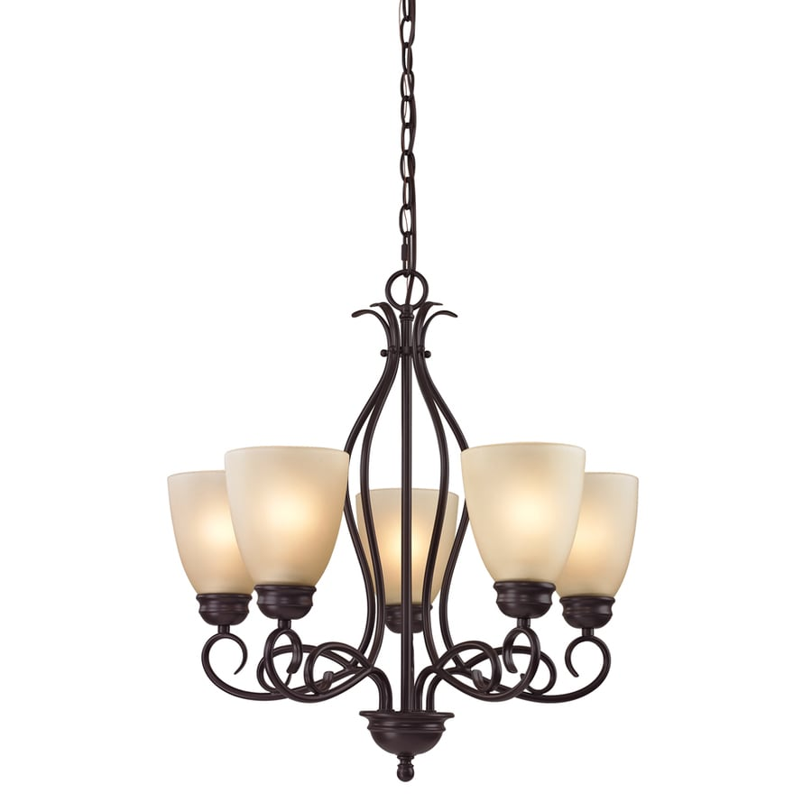 Westmore Lighting Sunbury 22-in 5-Light Oil-Rubbed Bronze Tinted Glass Shaded Chandelier