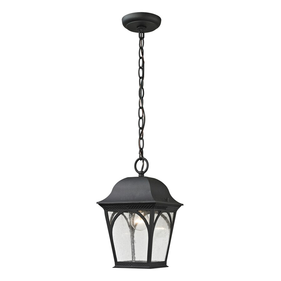 Westmore Lighting Albansville 11-in Matte Textured Black Outdoor Pendant Light