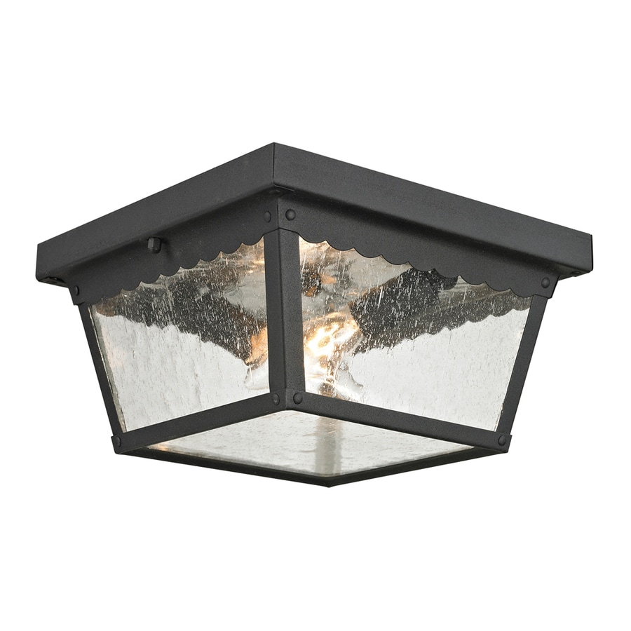 Westmore Lighting Coventry 10-in W Matte Textured Black Outdoor Flush-Mount Light