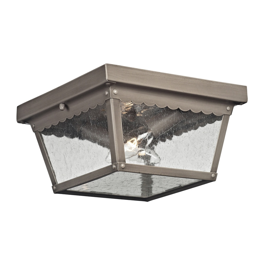 lighting coventry 10 in w antique nickel outdoor flush mount light at. Black Bedroom Furniture Sets. Home Design Ideas