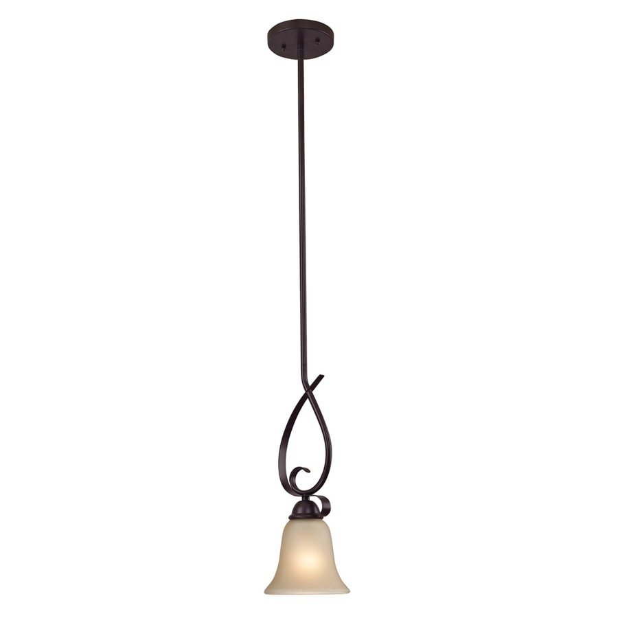 Westmore Lighting Colchester 6-in Oil-Rubbed Bronze Mini Tinted Glass Pendant