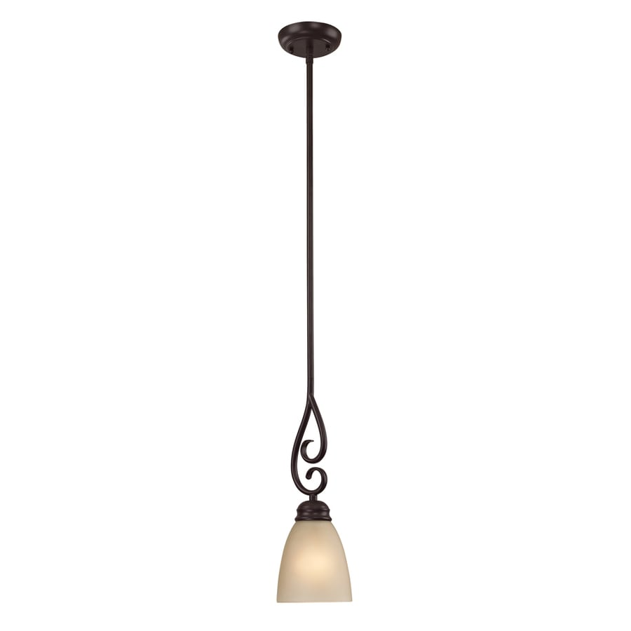 Westmore Lighting Sunbury 4-in Oil Rubbed Bronze Vintage Hardwired Mini Tinted Glass Dome Pendant