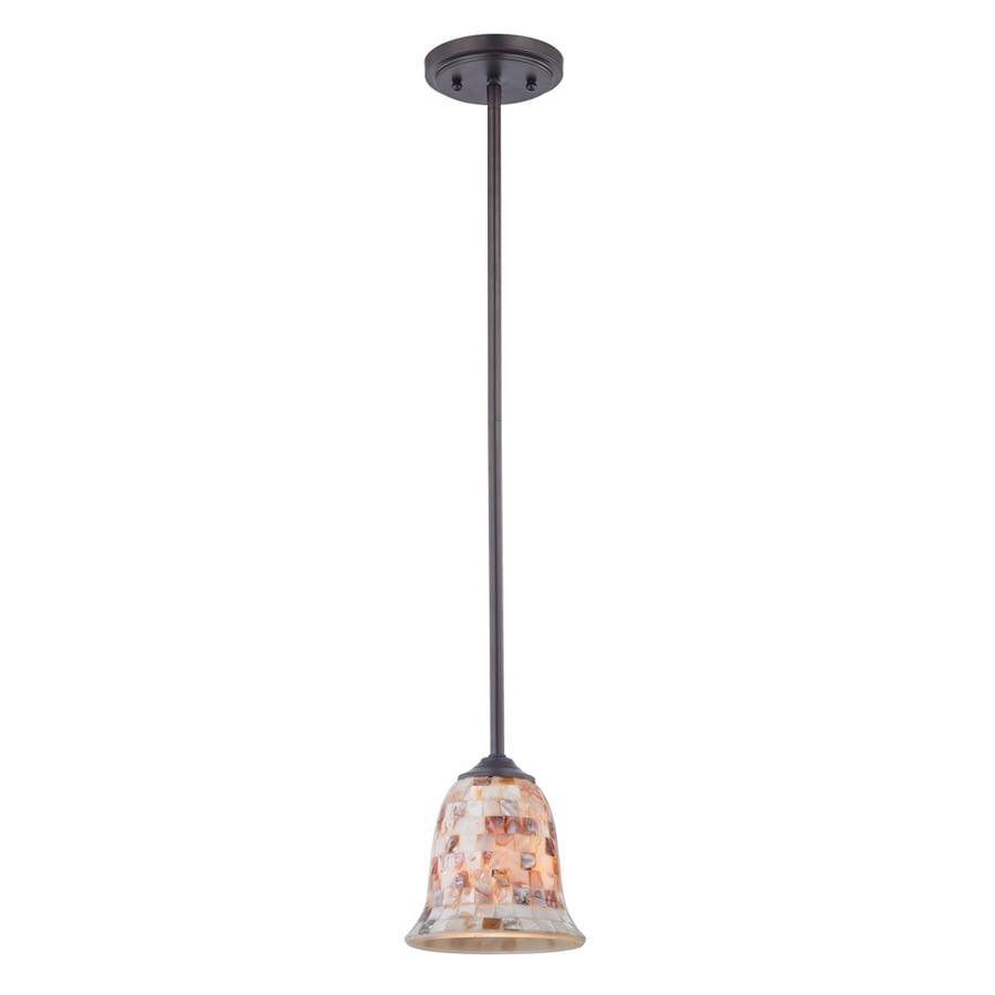 Westmore Lighting Delano 6-in Oil-Rubbed Bronze Mini Tinted Glass Pendant