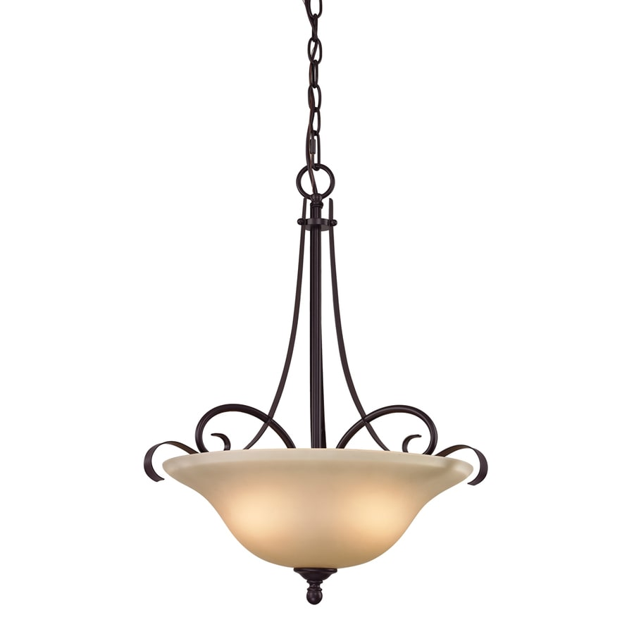 Westmore Lighting Colchester 17-in Oil-Rubbed Bronze Single Tinted Glass Pendant