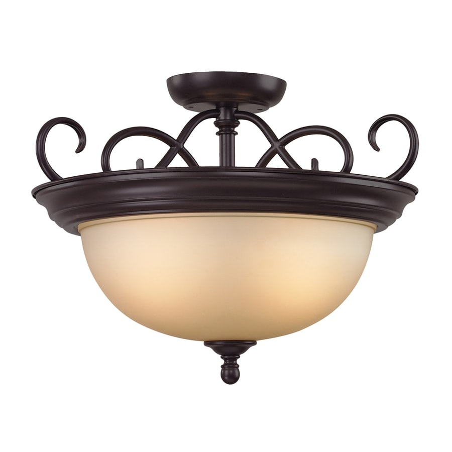 Westmore Lighting Sunbury 17-in W Oil Rubbed Bronze Frosted Glass Semi-Flush Mount Light