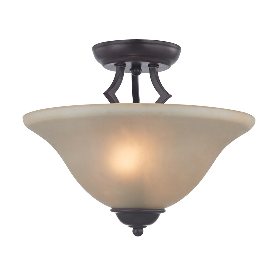 Westmore Lighting Rutherford 13-in W Oil Rubbed Bronze Frosted Glass Semi-Flush Mount Light