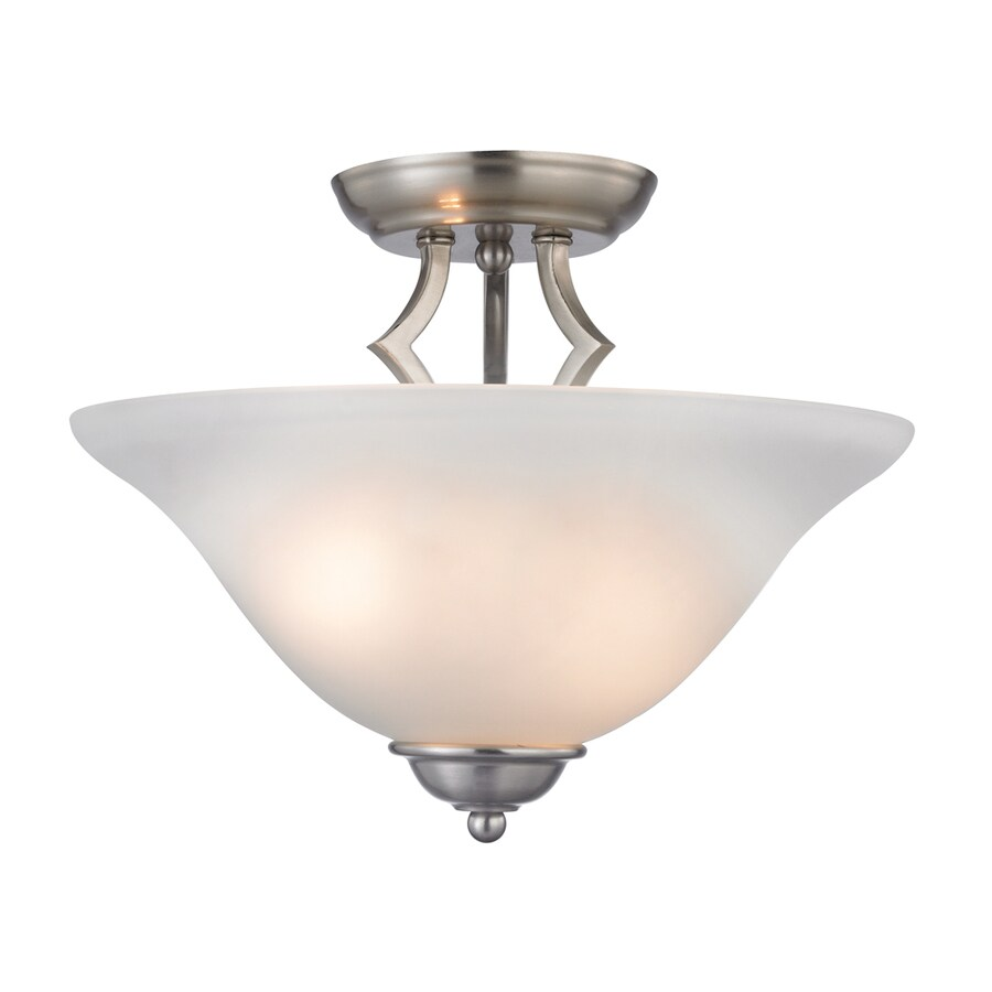 Westmore Lighting Rutherford 13-in W Brushed Nickel Frosted Glass Semi-Flush Mount Light