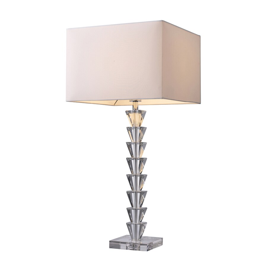 Westmore Lighting Tamworth 29-in 3-Way Clear Crystal Indoor Table Lamp with Fabric Shade