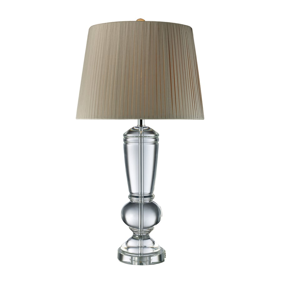 Westmore Lighting Van Fahren 33.1-in 3-Way Clear Crystal Indoor Table Lamp with Fabric Shade