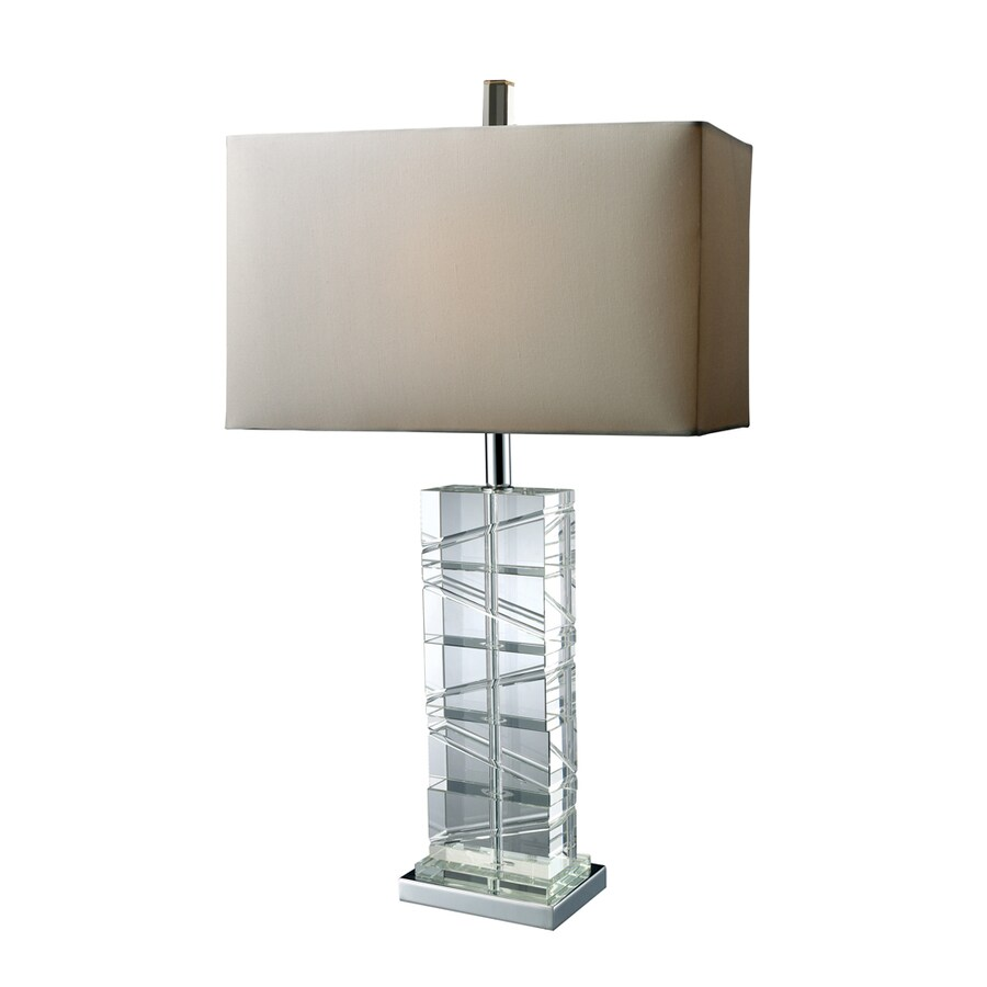 Westmore Lighting Oakledge 23-in 3-Way Clear Crystal and Chrome Indoor Table Lamp with Fabric Shade