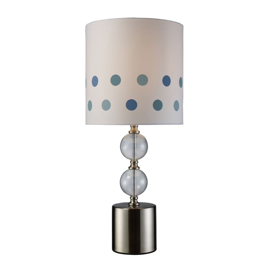 Westmore Lighting Fletcher 26-in 3-Way Chrome and Clear Glass Indoor Table Lamp with Fabric Shade