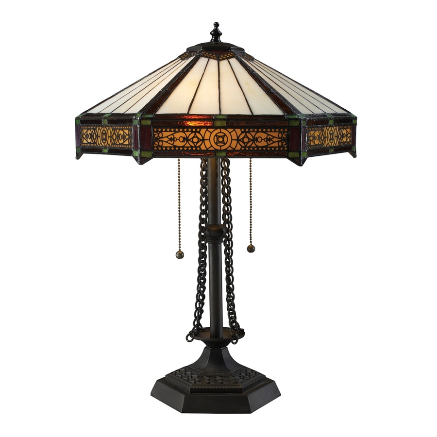 Westmore Lighting Racefield 22-in Tiffany Bronze Indoor Table Lamp with Glass Shade