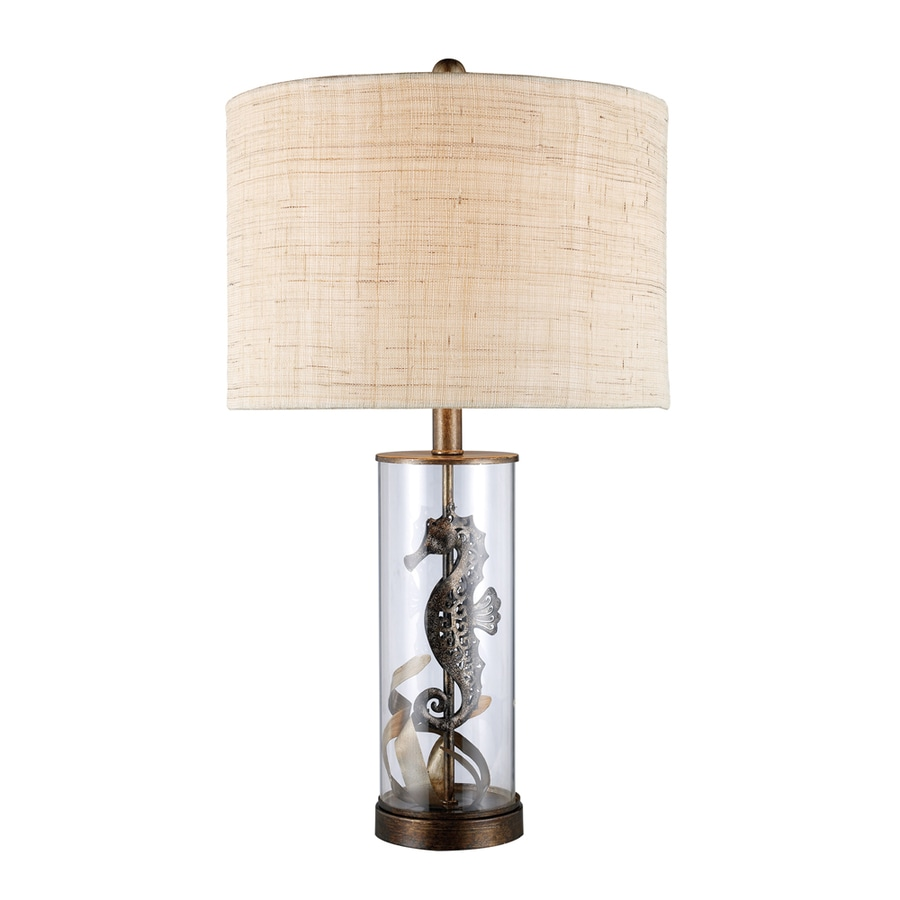 Westmore Lighting Beech Mountain 26-in 3-Way Bronze and Clear Glass Indoor Table Lamp with Fabric Shade