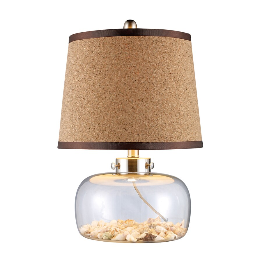 Westmore Lighting Clareview 20-in 3-Way Clear Glass Indoor Table Lamp with Wood Shade