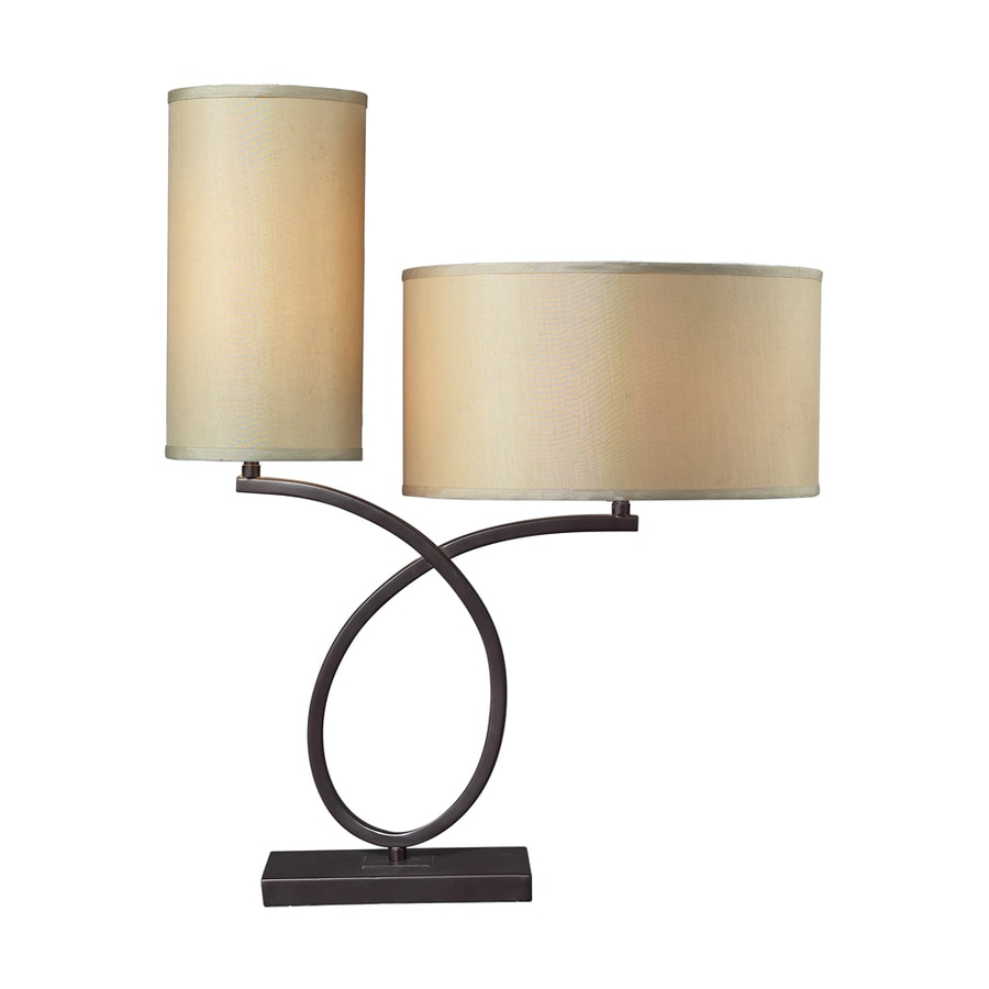 Westmore Lighting Mcgowan 26-in Aged Bronze Indoor Table Lamp with Fabric Shade
