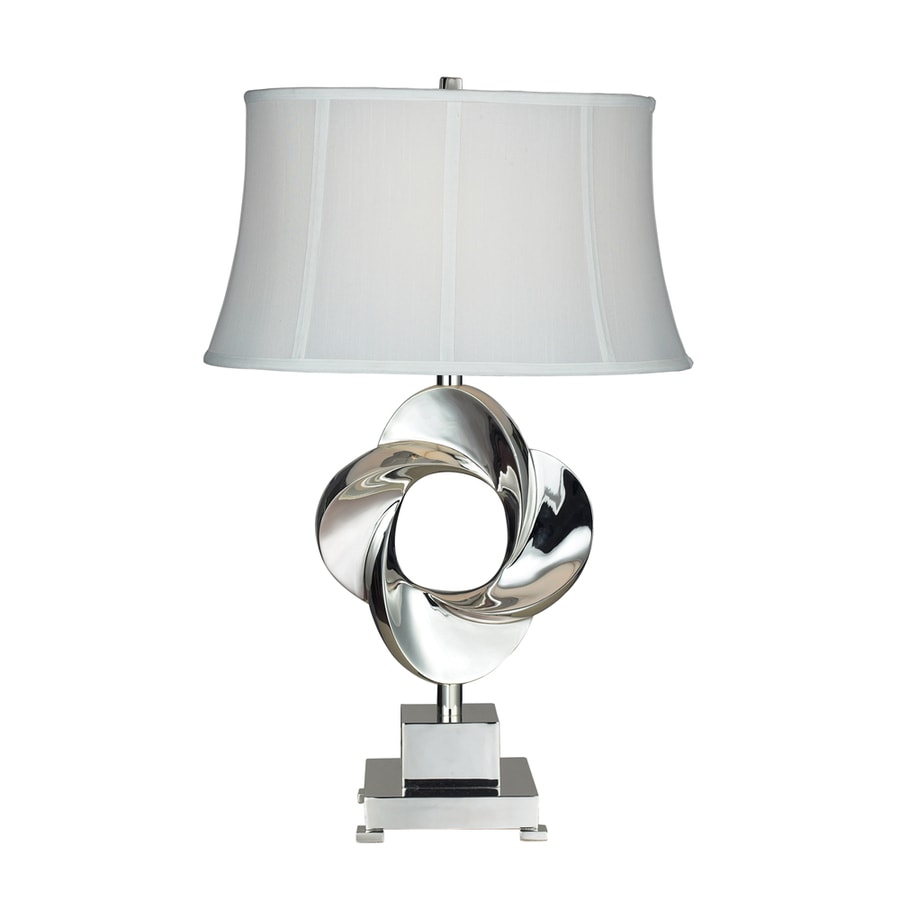 Westmore Lighting Keelgrove 28-in 3-Way Chrome Indoor Table Lamp with Fabric Shade