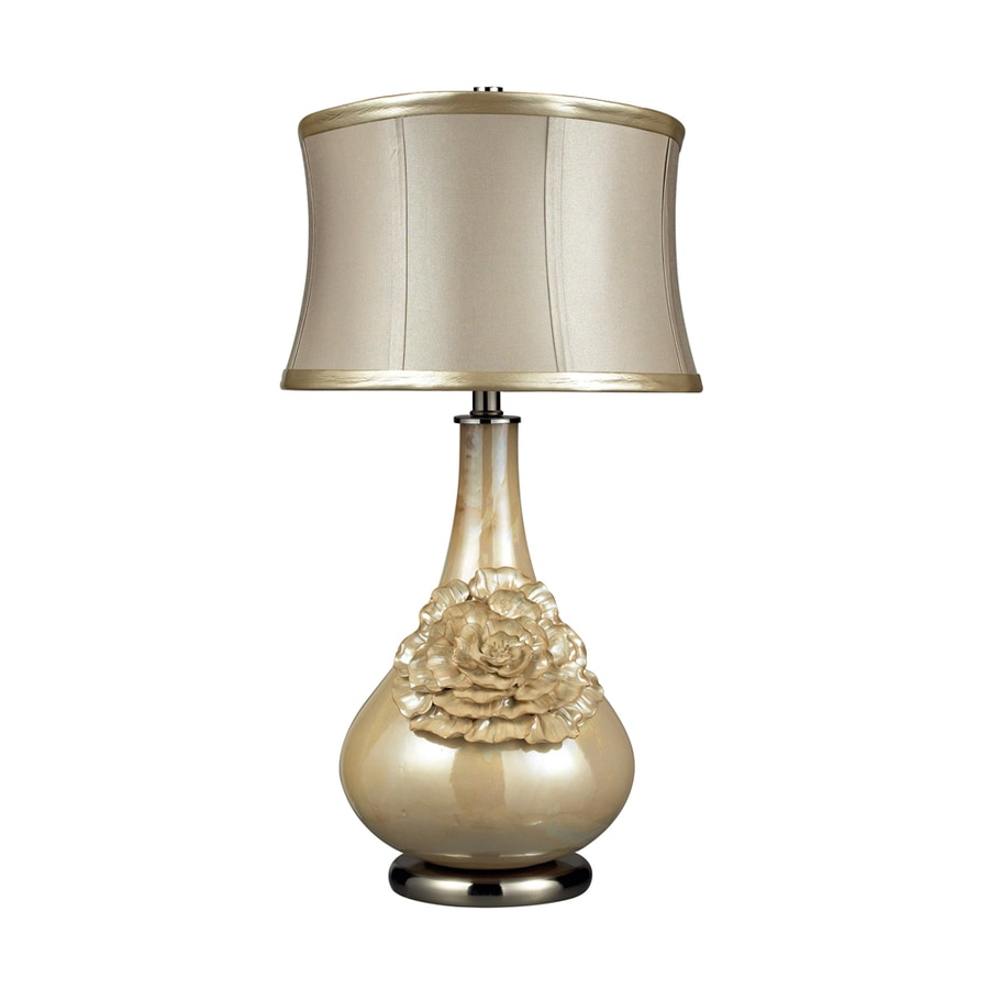 Westmore Lighting Hudsondale 27-in 3-Way Pearl Cream Indoor Table Lamp with Fabric Shade