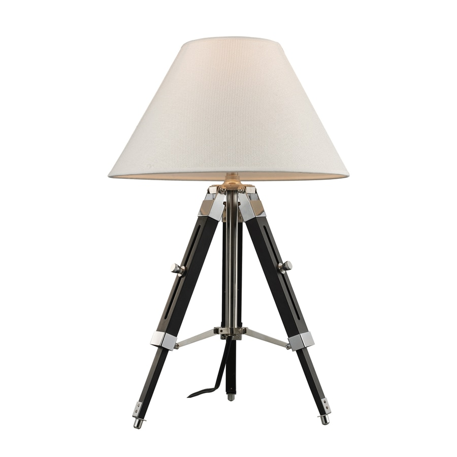 Westmore Lighting Bohermore 24-in Chrome and Black Indoor Table Lamp with Fabric Shade