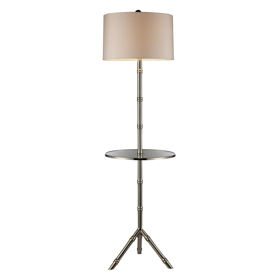 Westmore Lighting Lansford 59-in 3-Way Silver Indoor Floor Lamp with Fabric Shade