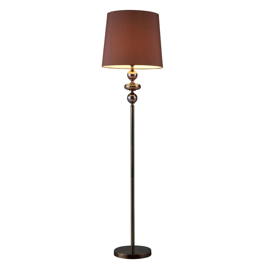 Westmore Lighting Minstrel 63.5-in 3-Way Bronze and Coffee Indoor Floor Lamp with Fabric Shade