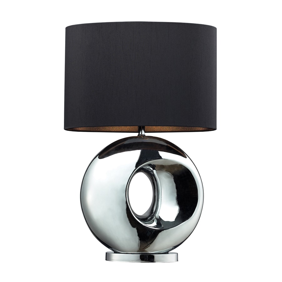 Westmore Lighting Kelvin 25-in Chrome Indoor Table Lamp with Fabric Shade