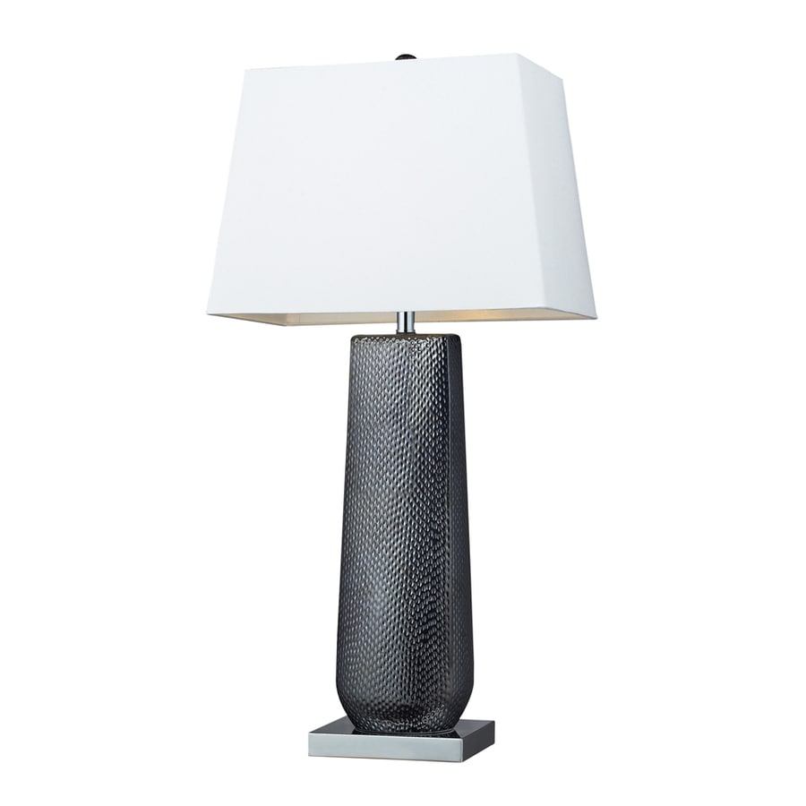 Westmore Lighting Euler 35-in 3-Way Black Pearl Indoor Table Lamp with Fabric Shade