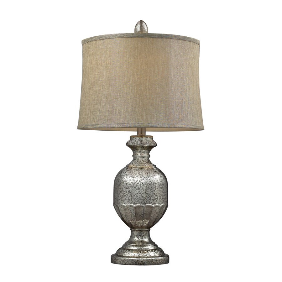 Westmore Lighting Snell 29-in Antique Mercury Indoor Table Lamp with Fabric Shade