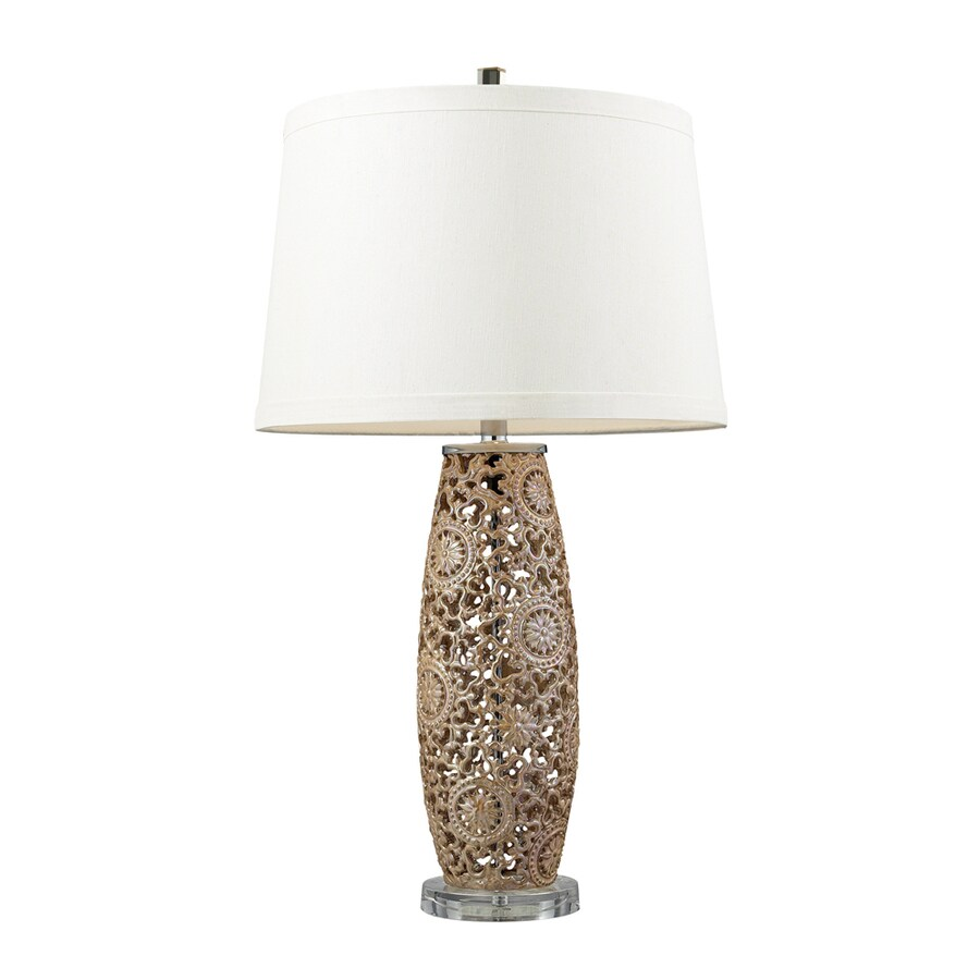 Westmore Lighting Shipman 30-in 3-Way Golden Pearl Indoor Table Lamp with Fabric Shade
